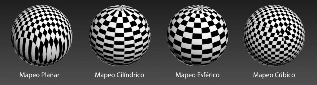 diferentes estilos de mapeado de texturas a esferas