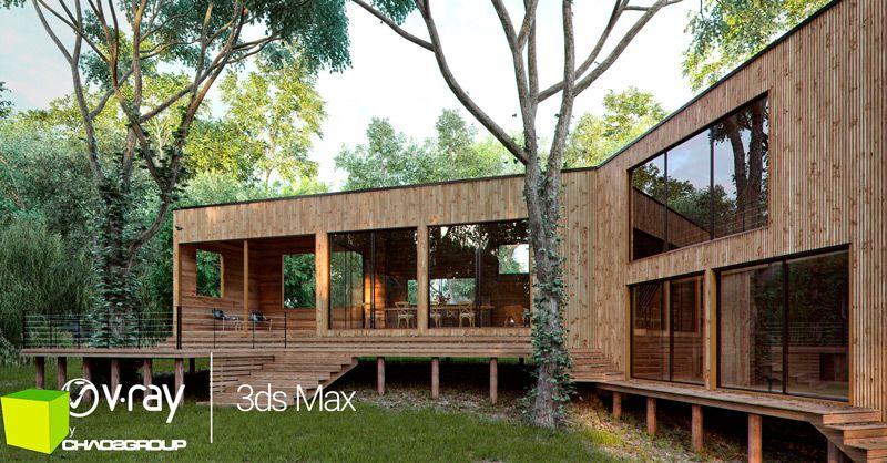 3ds Max Vray render de una casa de madera