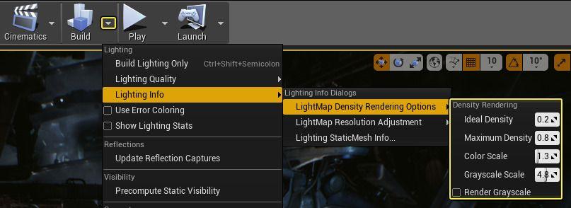 Ajuste la escala de colores de Lightmap Density en base a las necesidades de su proyecto.