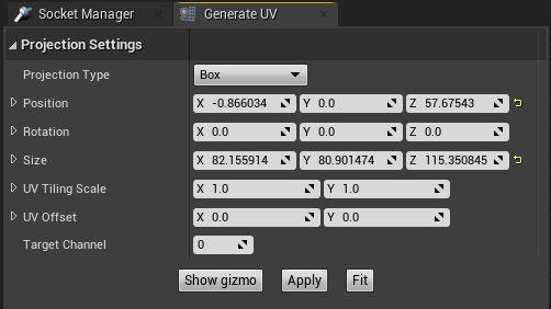 Ventana de configuración en Unreal Generar UV