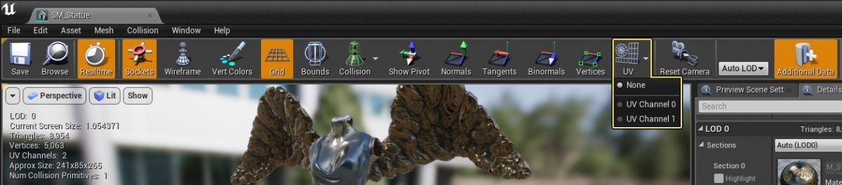 Static Mesh Editor, se ingresa haciendo doble clic sobre una malla estática.