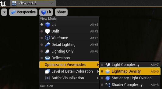 Camino para acceder desde el Viewpot al modo de vista Lightmap Density.