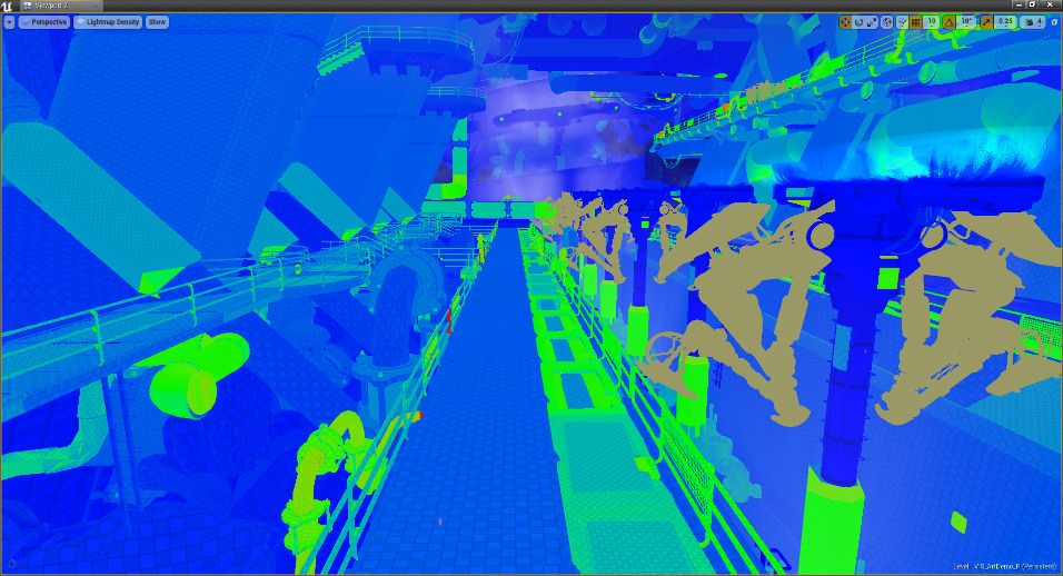 Modo de visualización Lightmap Density