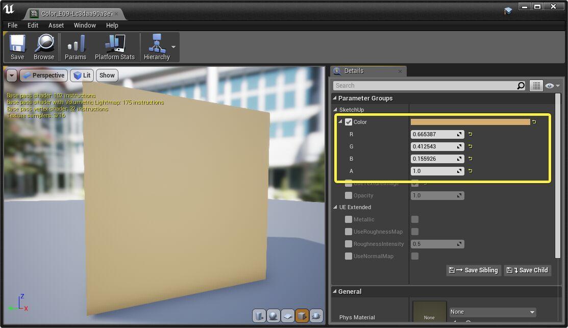 Editor de materiales de Unreal Engine 4, configurando color solido a instancia de material maestro.