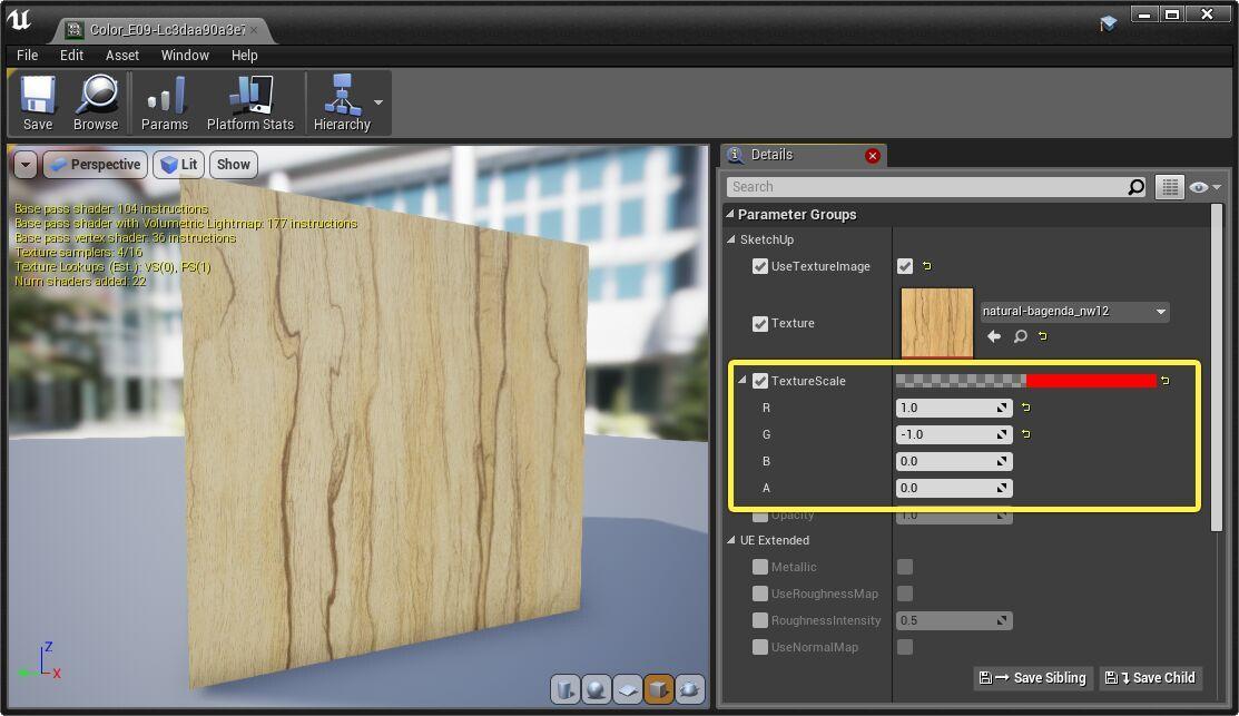 Controlar la repiticion o tamaño de la textura con R y G en Unreal Engine 4.