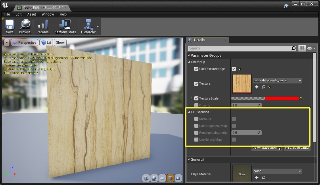 Otros parámetros que podemos modificar en la instancia del material maestro de Unreal Engine 4.