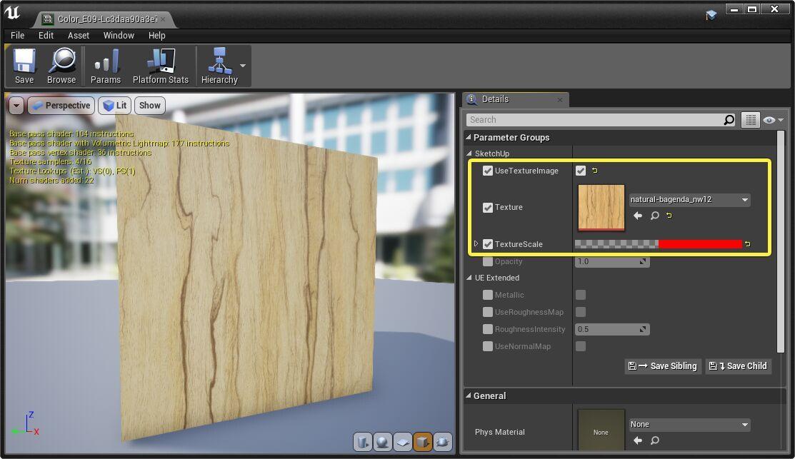Cargando una textura en lugar de un color dentro de Unreal Engine 4.