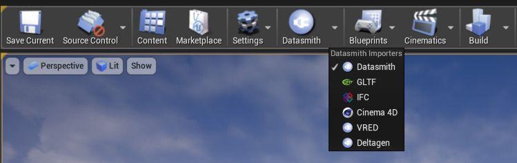 Seleccione Datasmith para proyectos .udatasmith