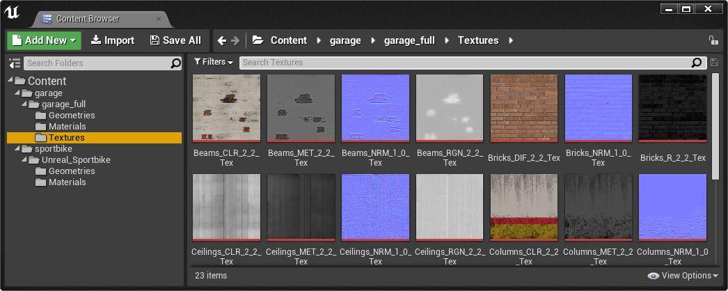 Carpeta del proyecto textures donde se importan los mapas de texturas de la escena original que se importo a UE4
