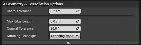 Opciones de Tessellation al importar un modelo
