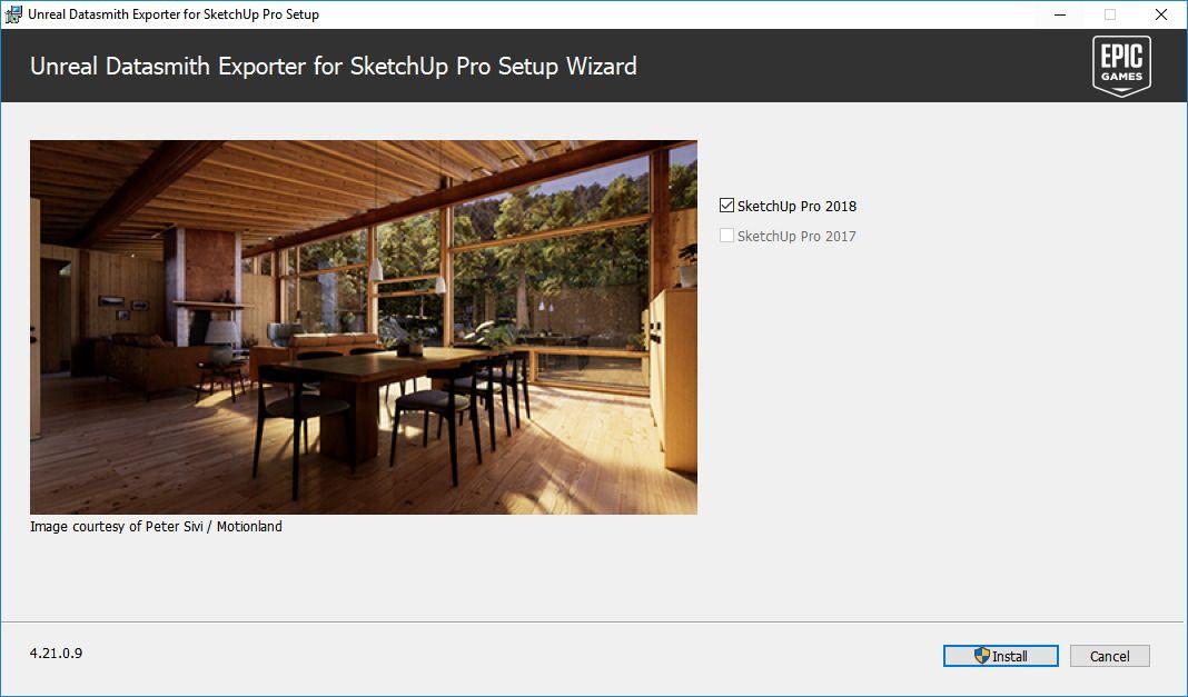 Datasmith detecta las diferentes versiones de Sketchup instaladas.