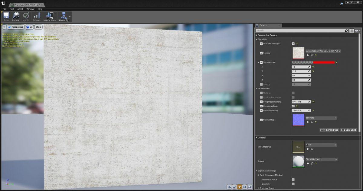 Editor de materiales de Unreal Engine mostrando un material de Sketchup que se genera como una instancia de material de un material maestro.