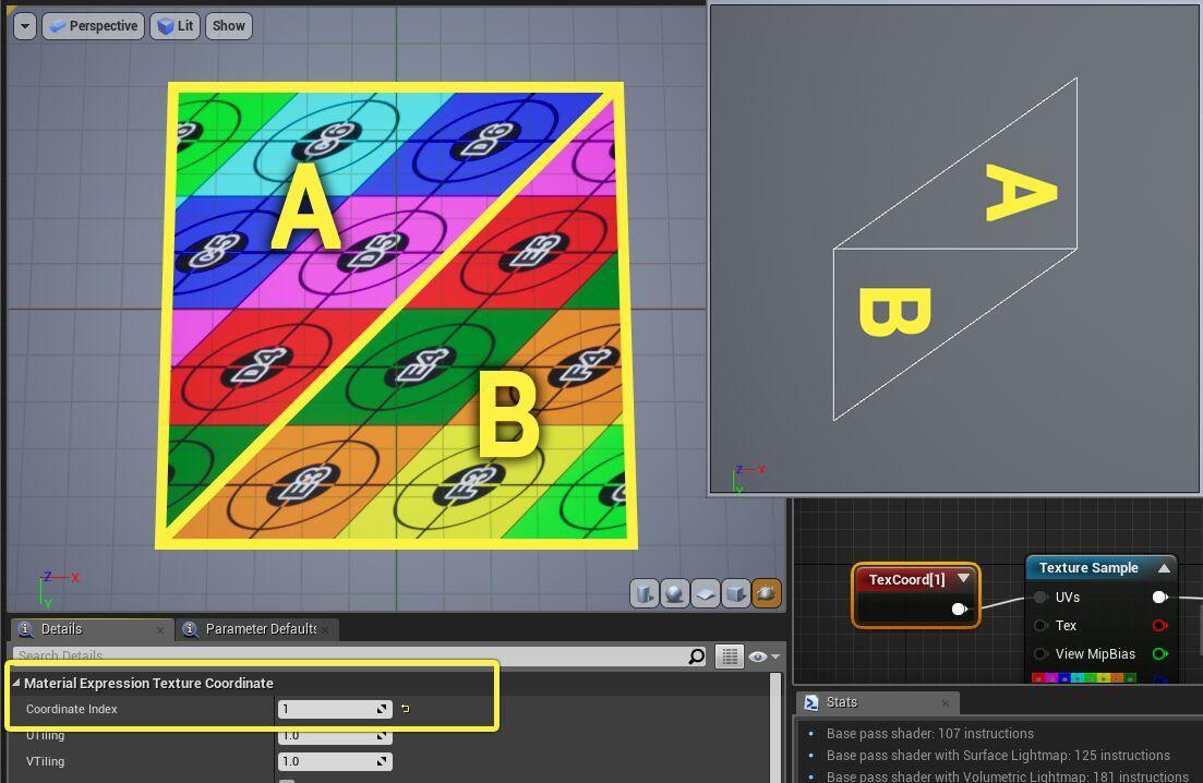 Ejemplo mapeo de coordenadas en un canal UV diferente (modificado) y su efecto.