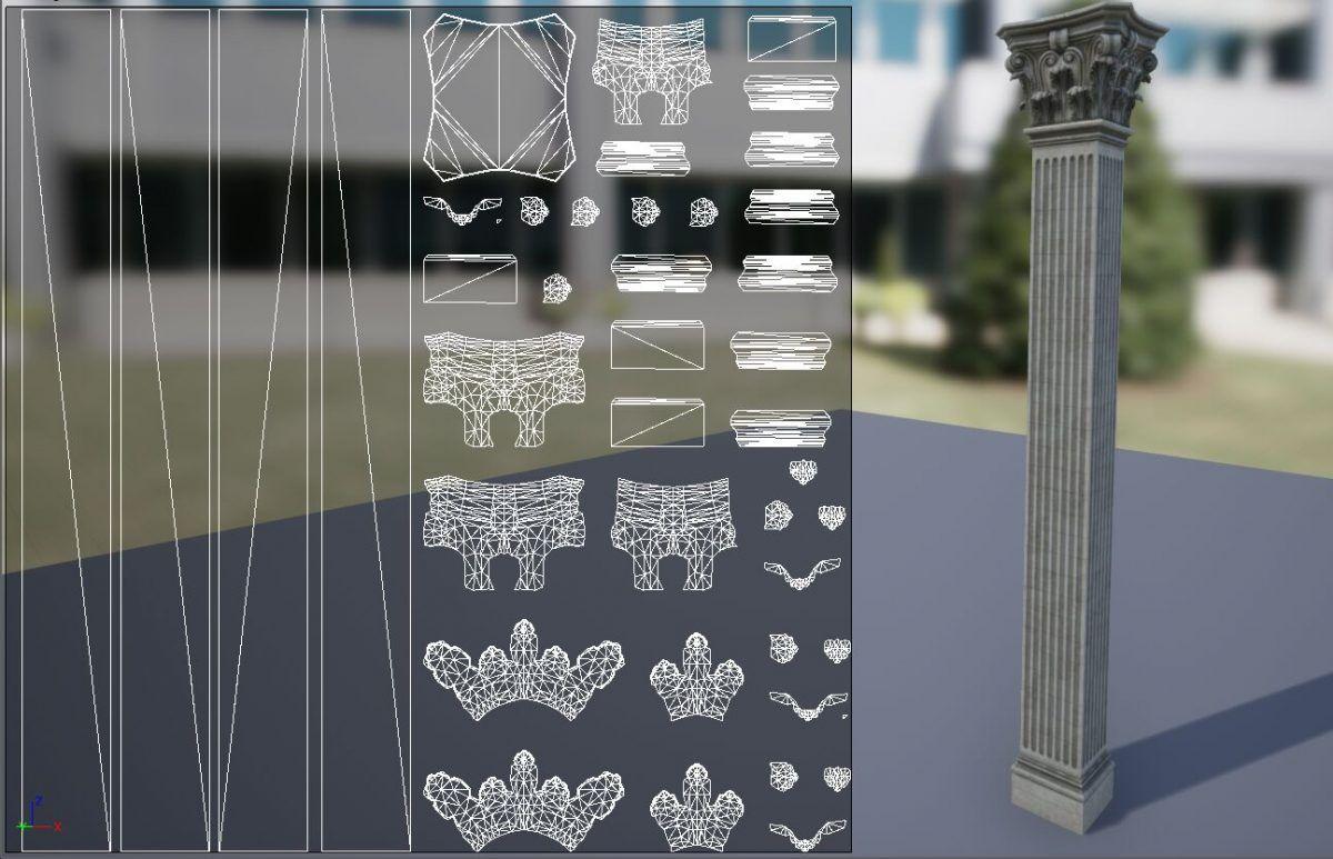 Representacion 2d de la columna, separada en islas dentro del canvas y con un correcto padding.