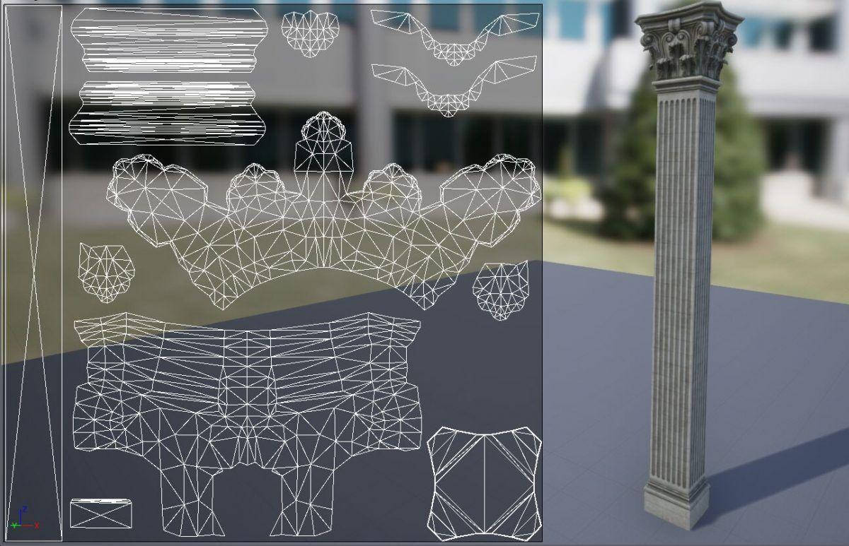 Correcto mapeo UV para aplicar una textura de concreto al pilar.