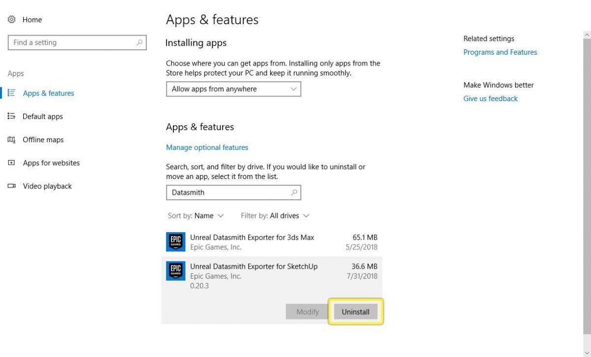 Desinstalar en Windows 10 el plugin Datasmith Exporter.