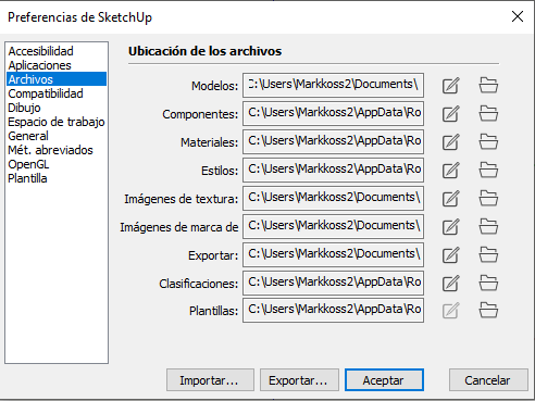 Rutas de archivos sketchup 2020